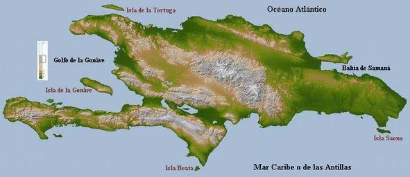 mapa topografico de la hispaniola