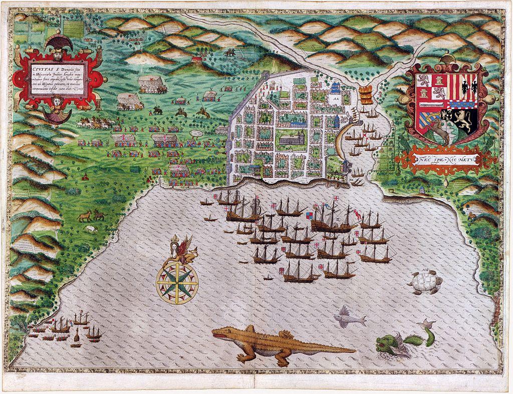 mapa de Santo Domingo muestra el plano cuadriculado de la ciudad. 1585–6