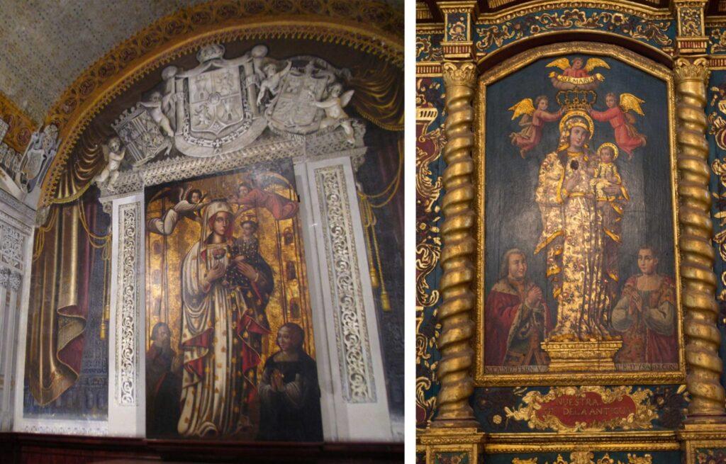 Virgen Nuestra Señora de la Antigua con dos donantes desconocidos, izquierda; Virgen de la Antigua con Isabel y Fernando, derecha